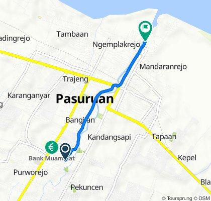 Jalan Darmoyudo A 45, Kecamatan Purworejo to Jalan komodor Yos Sudarso No.99, Panggungrejo
