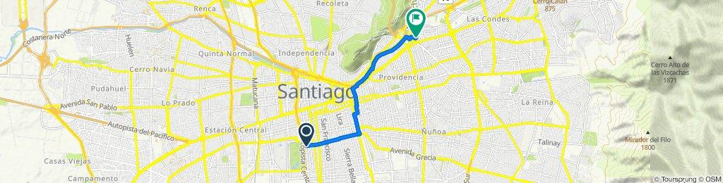 De Avenida Manuel Antonio Matta 1498, Santiago a San Sebastián 2750, Las Condes