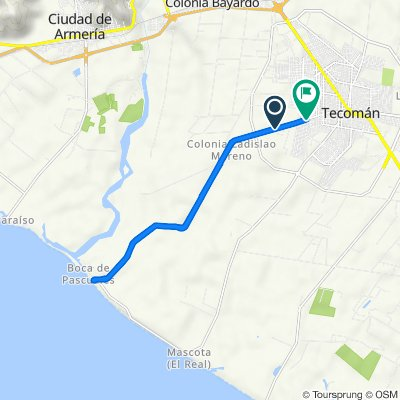 De Carretera Tecomán - Boca de Pascuales, Tecomán a Calle Federico Gudiño 10, Tecomán
