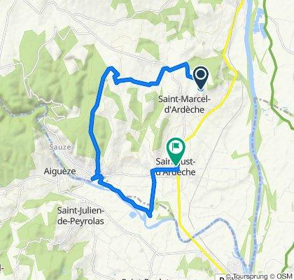 De 770 Chemin de la Combe de Brissan, Saint-Marcel-d'Ardèche à 75 Route de Bourg Saint-Andéol, Saint-Just-d'Ardèche
