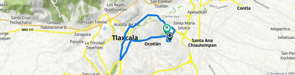 De Calle Encinos 7, Santa Ana Chiautempan a Avenida Ocotlán, Tlaxcala de Xicohténcatl