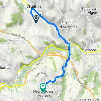 De 562 Chemin de la Colletière, Châtillon à 2–38 Montée du Chêne, Fleurieux-sur-l'Arbresle