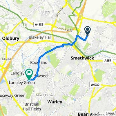 Route to 4 Primrose Bank, Oldbury