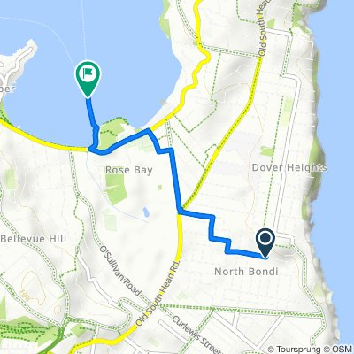 Route from 108 Clyde Street, North Bondi