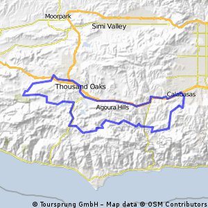 Cycling routes and bike maps in and around Thousand Oaks Bikemap