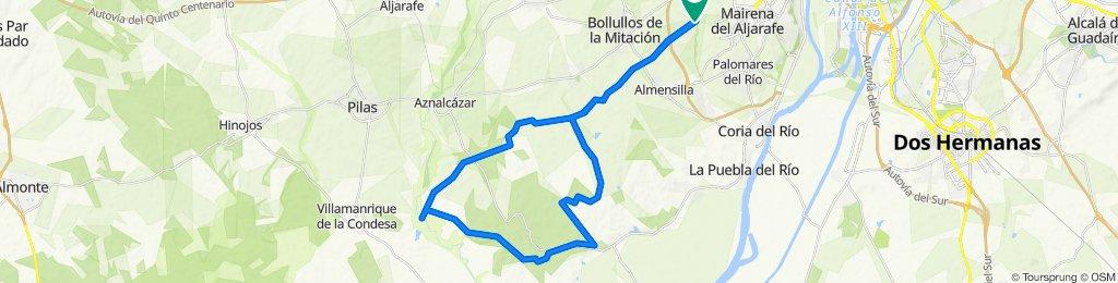Mairena del Aljarafe, ruta roja, bar el cruce, vado del quema, Mairena