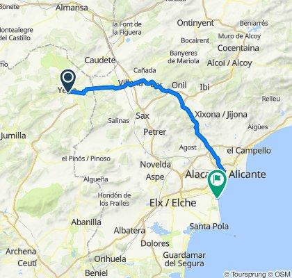 De Calle del Infante Don Juan Manuel, 9D–15, Yecla a Paseo de Tomás Durá, 2C, Alacant/Alicante