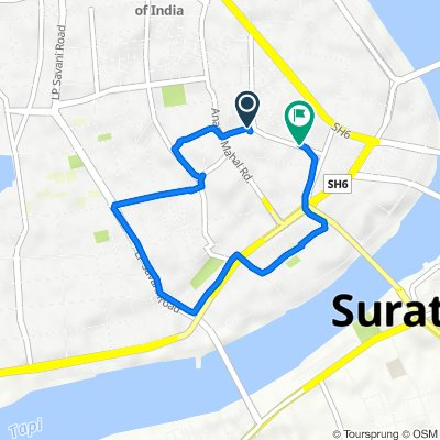 Route from Ajramar Chowk, Surat