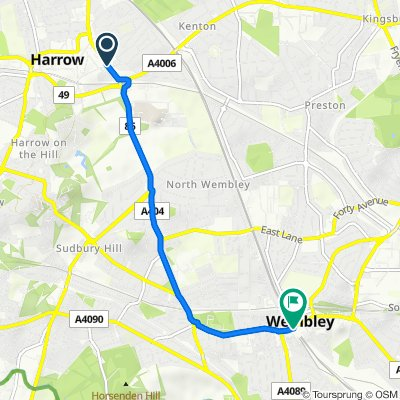 Route from 9 Brandreth Court, Sheepcote Road, Harrow