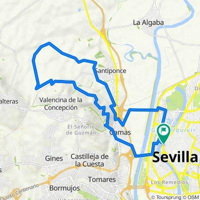 Sevilla-Santiponce-Arroyo del Judío-Valencina-Castilleja Guzmán-Cerro Sta Brígida-Camas-Sevilla