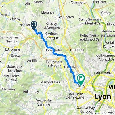 De 102 Chemin des Pierres, Belmont-d'Azergues à 1 Allée des Tullistes, Écully