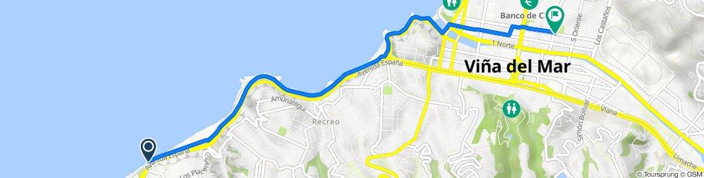 De Avenida Espana - Subida San Luis / Poniente, Valparaíso a 3 Norte 1040, Viña del Mar