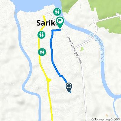 Route from Lorong Bawal 1, Sarikei