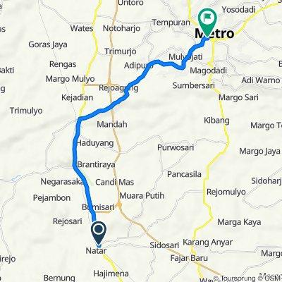 Jalan Sitara 19, Kecamatan Natar to Jalan Maulana 19, Kecamatan Metro Pusat