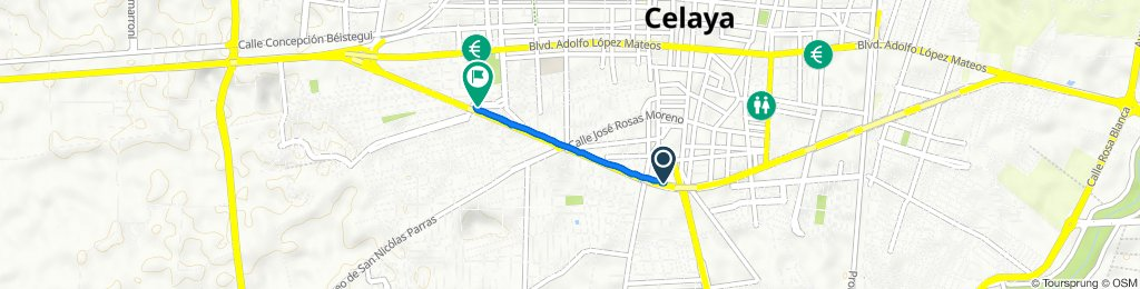 De Avenida Constituyentes 109, Celaya a Avenida Arboledas 126, Celaya