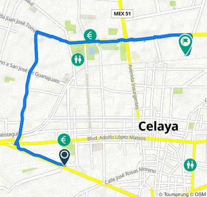 De Avenida Arboledas 126, Celaya a Paseo de La Alameda 135, Celaya