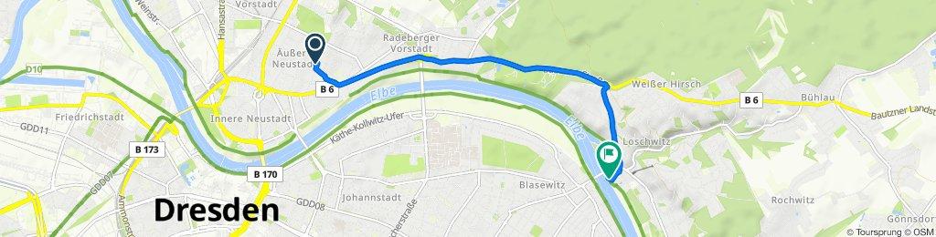 Kamenzer Straße 13, Dresden nach Friedrich-Wieck-Straße 30, Dresden