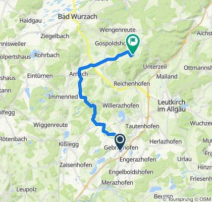 Am Wettegraben 13, Leutkirch im Allgäu nach Am Wachbühl 1, Bad Wurzach