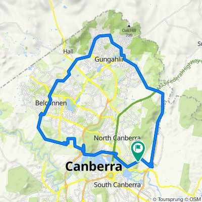 Campbell NE loop via Gangahlin and Belconnen District past Black Mountain and Parkes