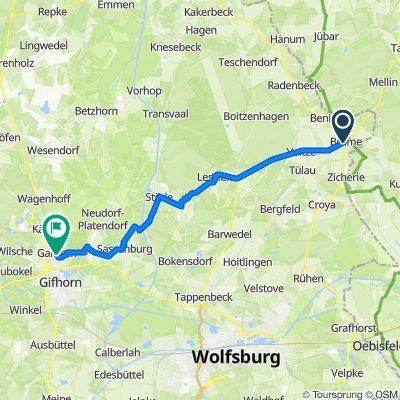 Route von Bahnhofstraße 54, Brome