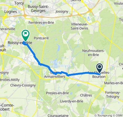 De Rue Est Jodelle 14, Les Chapelles-Bourbon à Avenue du Maréchal Louis Franchet Desperey 19, Roissy-en-Brie