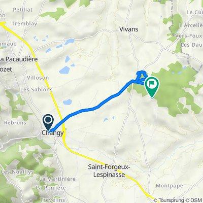 De 183 Place du Champ de Foire, Changy à Route du Lignet, Saint-Forgeux-Lespinasse