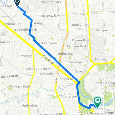 Route from 544–556 Torrens Road, Woodville North