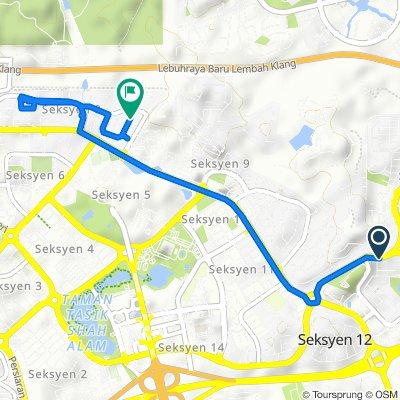 Persiaran Hishamuddin, Shah Alam to 15–29, Jalan Tebing 8/8, Shah Alam