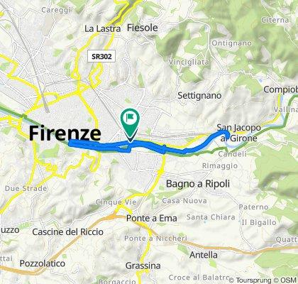 Da Lungarno Aldo Moro 32/34, Firenze a Via Marco Minghetti 29, Firenze