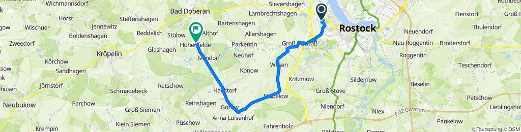 Schwentnerstraße 2, Rostock nach Schwaaner Chaussee 19, Bad Doberan