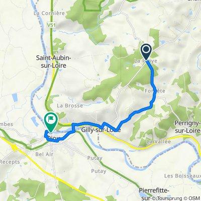 De D192, Gilly-sur-Loire à 1–3 Chemin de la Procession, Diou