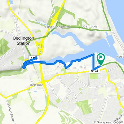 Route from 37 Bates Ave, Blyth