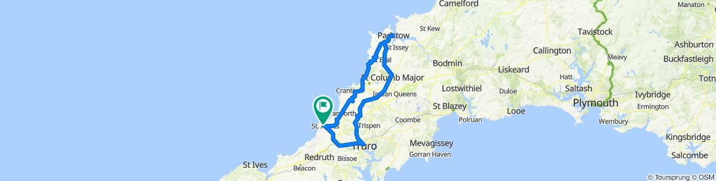 Route from 25 Trevose Close, St Agnes