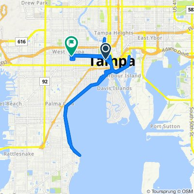 North Ashley Drive 600, Tampa to West Lemon Street 2425, Tampa
