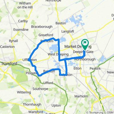 80 Hereward Way, Peterborough to 5–11 Brownlow Dr, Deeping St. James, Peterborough