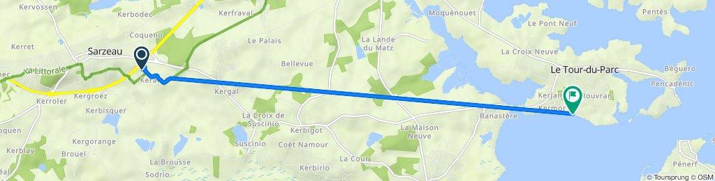 De Rue Adrien Régent 30, Sarzeau à Impasse des Courlis 5, Le Tour-du-Parc