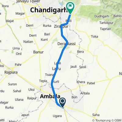 Jammu - Delhi Road, Ambala Cantt to Panchkula