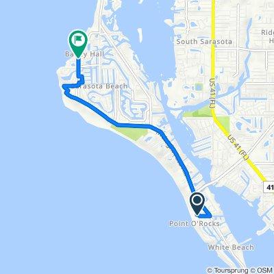 1001 Point of Rocks Rd, Sarasota to 4842 Ocean Blvd, Sarasota