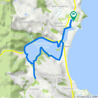 Route from Walsh Street, North Narrabeen