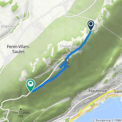 De Chemin du Réservoir 1, Chaumont à Route de Chaumont, Neuchâtel