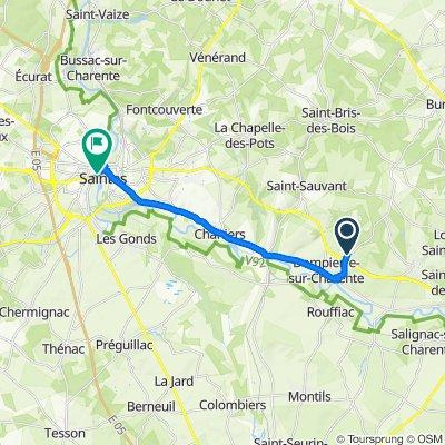 De Rue de la Chaume, Dompierre-sur-Charente à 7 Rue Georges Clemenceau, Saintes