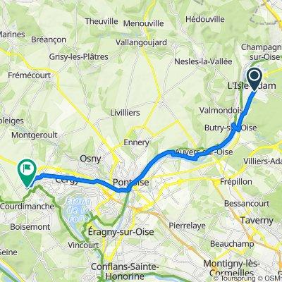 De 81bis Rue de Pontoise, L'Isle-Adam à 28–40 Rue des Grands Bouleaux, Courdimanche