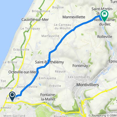 De Chemin Départemental 147, Octeville-sur-Mer à 34 Route de la Lézarde, Notre-Dame-du-Bec