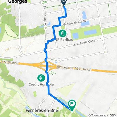 De 51 Allée des Troubadours, Bussy-Saint-Georges à Châteaux de Ferrières, Ferrières-en-Brie