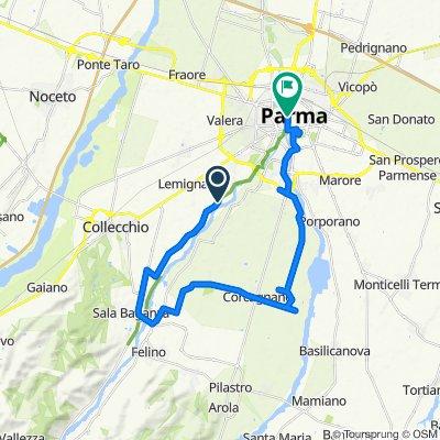 Da Strada Farnese-Vigheffio, Parma a Vicolo San Quirino 4A, Parma