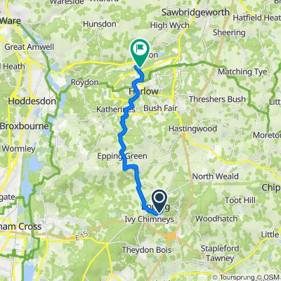 Route from Station Approach, Epping to Harlow town station