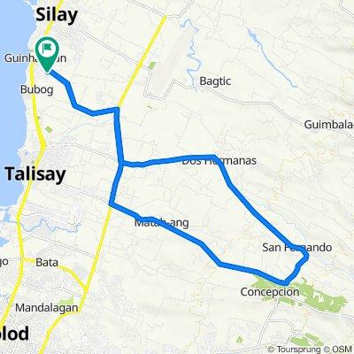 Buenavista Subd, Silay City to Brgy Dos Hermanas, Talisay City to Brgy San Fernando to Brgy Concepcion, Talisay City to Buenavista Subd, Silay City