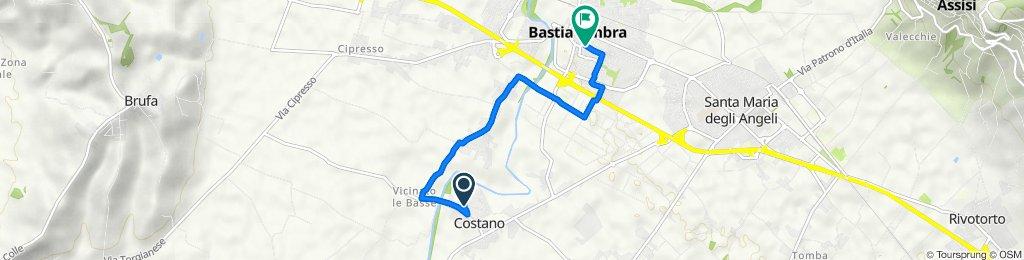 Da Piazza Umberto Fifi 10, Costano a Via Cesare Battisti 9, Bastia Umbra