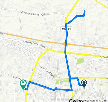 De Calle Guanajuato 301, Celaya a Avenida Quetzalli 605, Celaya