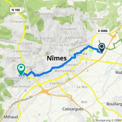 De 1438 Chemin du Mas de Miraman, Nîmes à 286 Rue du Professeur Robert Debre, Nîmes